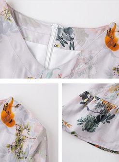 Fashion V-neck Big Hem Silk Print Dress