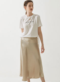 Solid Color High Waist Big Hem A Line Skirt