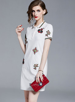 Stylish Polo Collar Embroidered T-shirt Dress