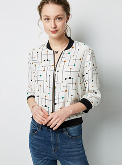 Print Stand Collar Zipper Short Coat