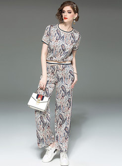 Stylish Print O-neck T-shirt & Tie-waist Wide Leg Pants