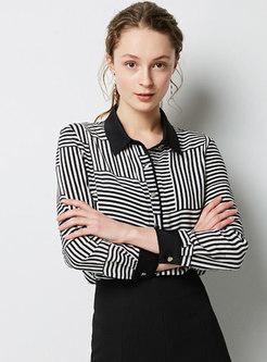 Elegant Striped Lapel Single-breasted Blouse