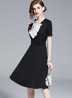 Stylish O-neck Embroidered Slim A Line Dress