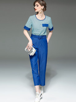 Casual Striped O-neck T-shirt & Belted Wide Leg Pants