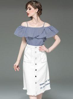 Slash Neck Blue Plaid Top & White Denim Skirt