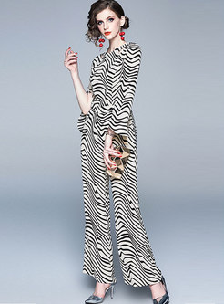 Striped Flare Sleeve Hollow Out Slim Jumpsuit