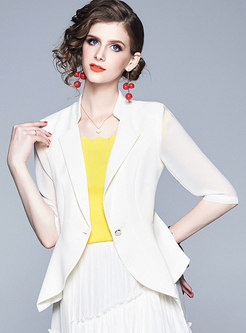 Turn Down Collar Asymmetric Slim Blazer