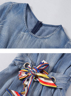 O-neck Short Sleeve Bowknot Waist Jumpsuits