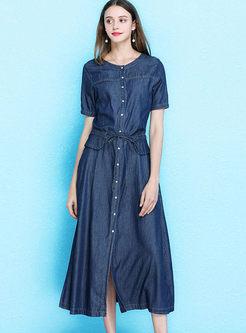 Retro Single-breasted Slim Denim Maxi Dress