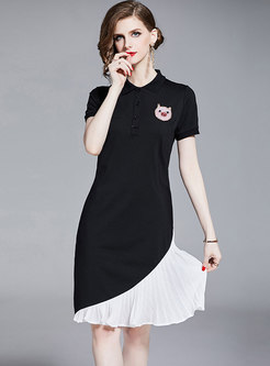 Casual Color-blocked Lapel Pleated T-shirt Dress