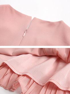 Solid Color Sleeveless Splicing Falbala Pleated Dress