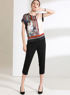 Stylish Print O-neck Loose T-shirt