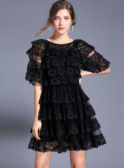 Perspective Lace Mesh Skater Dress With Cami