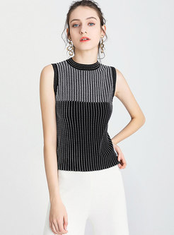 Stand Collar Sleeveless Slim Knitted Top