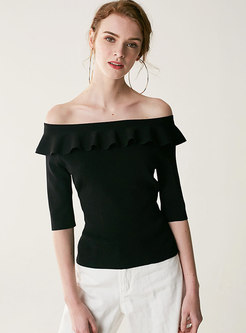 Slash Neck Half Sleeve Falbala Knitted Top