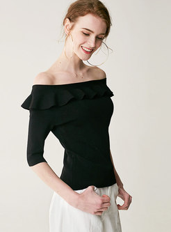 Slash Neck Half Sleeve Falbala Knitted Top
