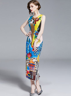 Print O-neck Sleeveless Drilling Sheath Maxi Dress