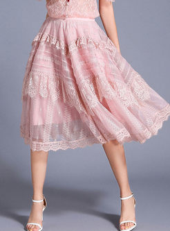 Sweet High Waist Big Hem Lace Skirt