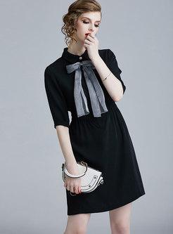 Elegant Lapel Bowknot Slim A Line Dress