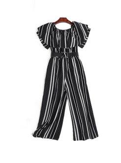 Striped Slash Neck Belted Jumpsuit