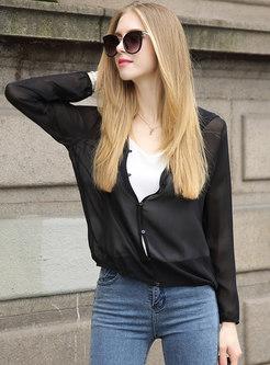 Black Hooded Long Sleeve Loose Thin Coat