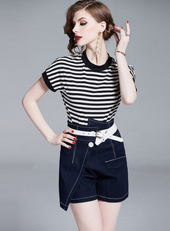 Striped Bat Sleeve T-shirt & Denim Asymmetric Shorts