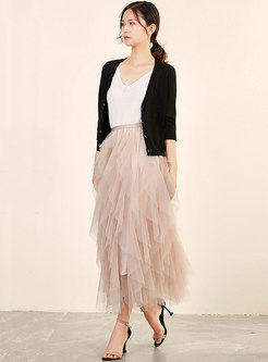 Gauze Solid Color Irregular Skirt