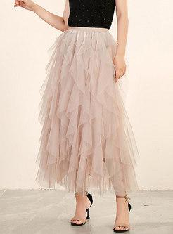 Gauze Solid Color Irregular Skirt