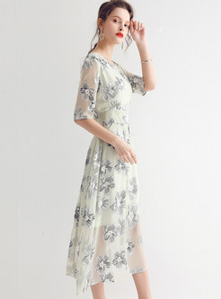 Fashion High Waist Chiffon Print A Line Dress