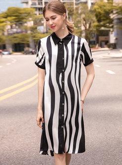 Stylish Lapel Striped Split T-shirt Dress