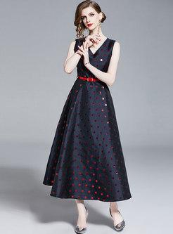 Polka Dot V-neck Sleeveless Belted Hem Maxi Dress