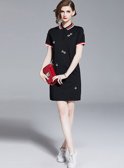 Brief Color-blocked Lapel Sheath Mini Dress
