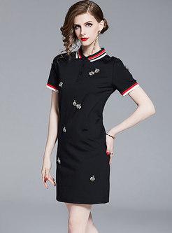 Brief Color-blocked Lapel Sheath Mini Dress