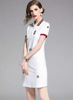 Brief Color-blocked Lapel Sheath T-shirt Dress