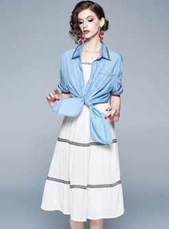 Casual Splicing Slip Dress & Denim Lapel Top