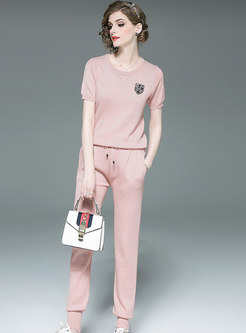 Casual O-neck Knitted Top & Tie-waist Harem Pants