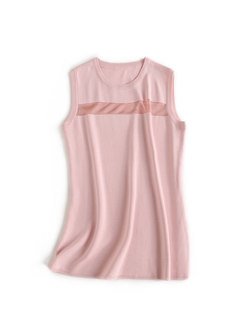 Brief Color-blocked O-neck Sleeveless Knitted Top