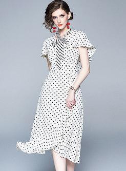 Polka Dot Tie Falbala Bodycon Dress