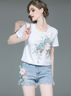 Casual Stereoscopic Flower O-neck T-shirt & Denim Shorts