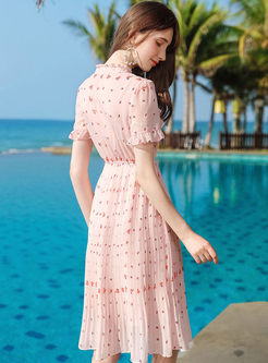 Mock Neck Print Chiffon Knee-length Dress