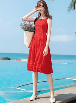 Retro Red Sleeveless High Waist Skater Dress