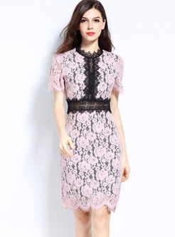 Color-blocked O-neck Short Sleeve Lace Slim Dress