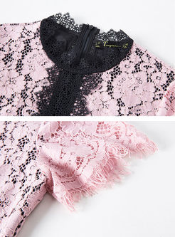 Color-blocked O-neck Short Sleeve Lace Slim Dress