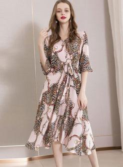 Fashion Silk V-neck Leopard Splicing Dress
