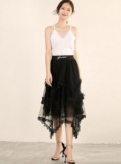 Sweet High Waist Beaded Irregular Mesh Skirt