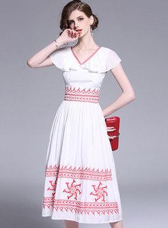 Chic Embroidered V-neck Gathered Waist Skater Dress