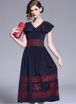 Stylish Embroidered V-neck Gathered Waist Skater Dress