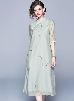 Ethnic Embroidered Splicing Button Casual Dress