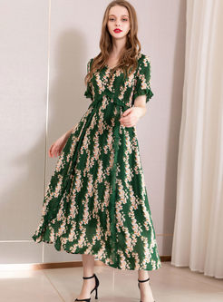 V-neck Short Sleeve Lace Splicing Maxi Dress
