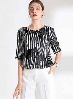 Casual O-neck Striped Slim Silk T-shirt